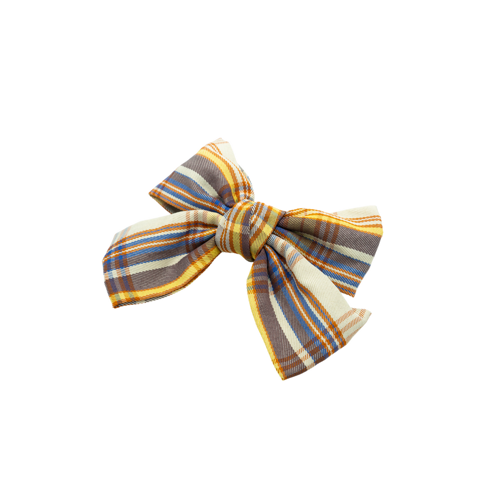 Trine Orange Plaid Bow Barrette