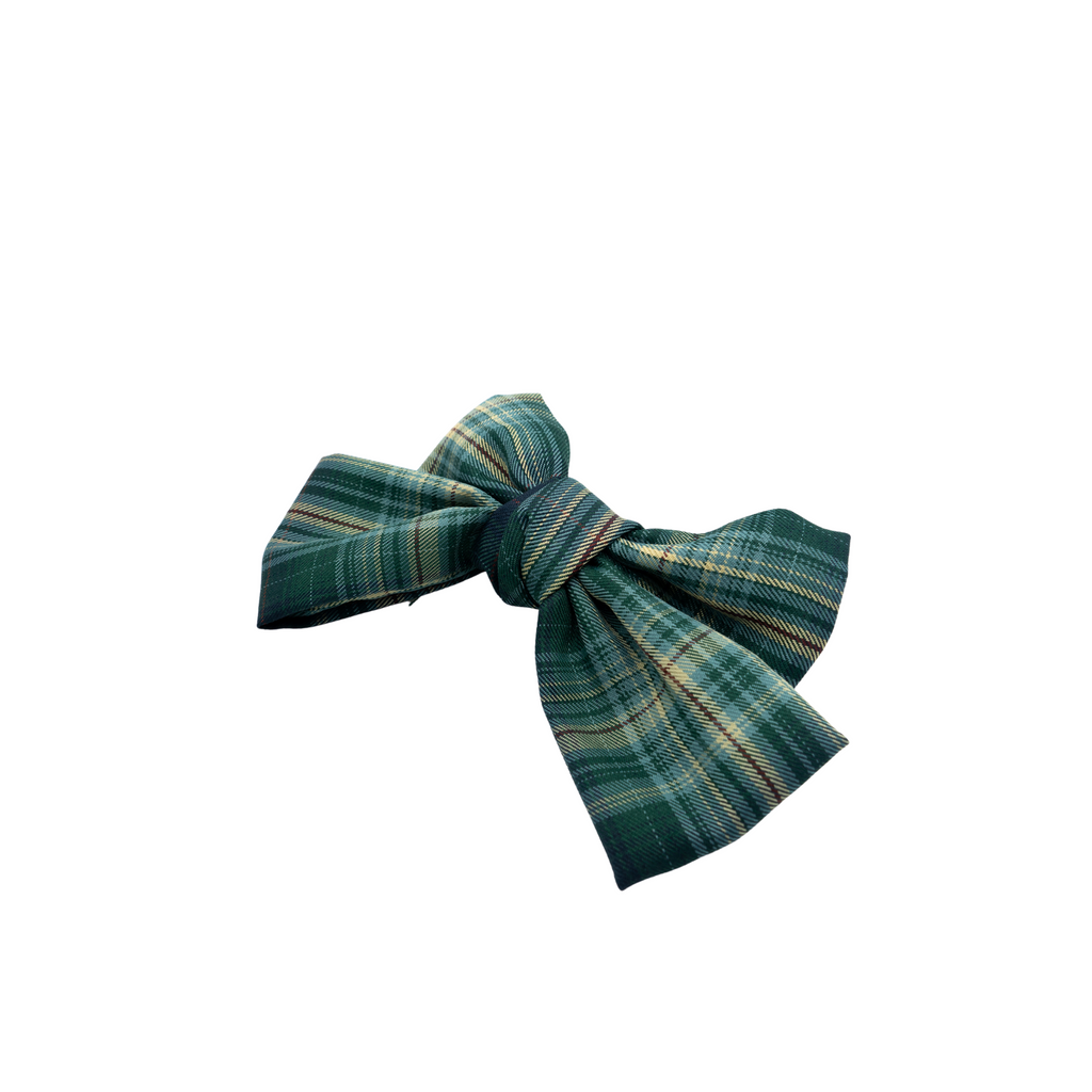 Trine Green Plaid Bow Barrette