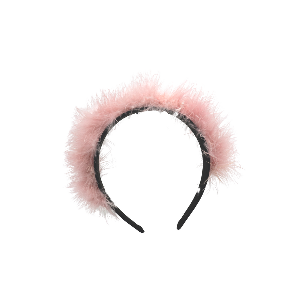 pink feather headband