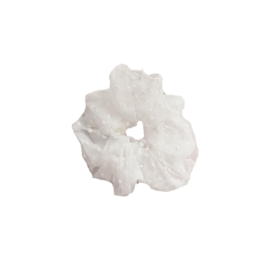 White Polka Dot Organza Scrunchie