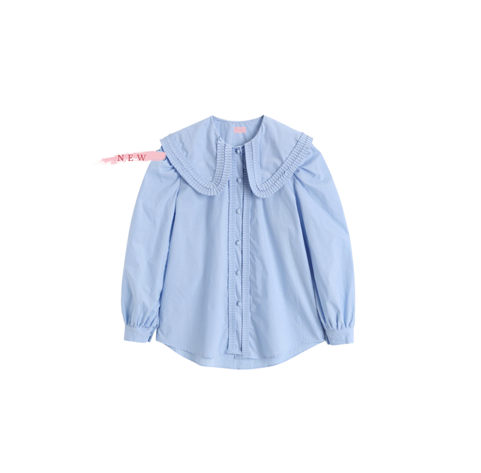 Pia Blue Blouse with Ruffle Collar