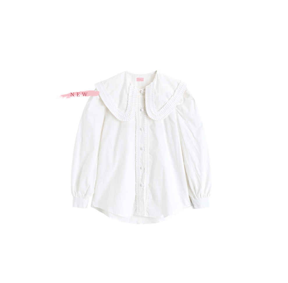 Pia White Blouse with Ruffle Collar