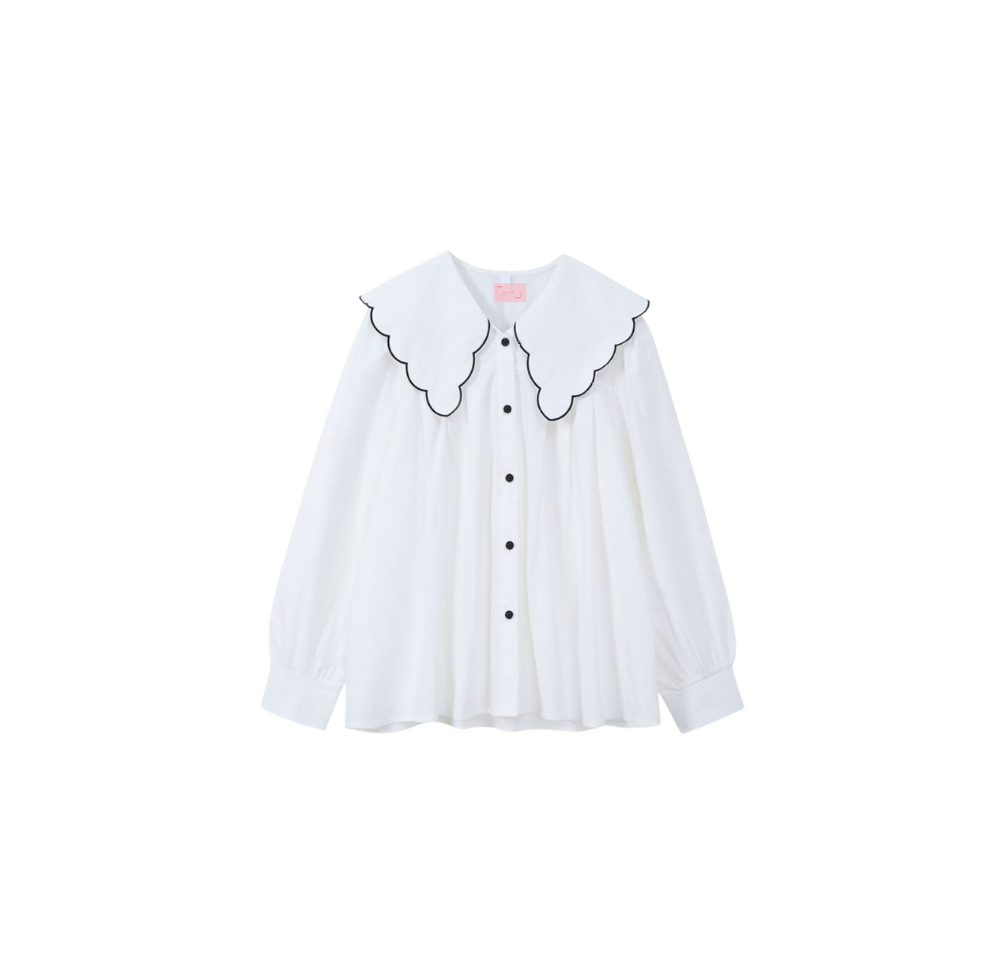 Freya Blouse with Scalloped Collar