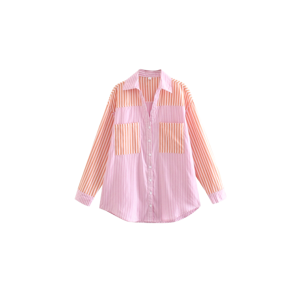 Loreta Pink and Orange Stripes Blouse