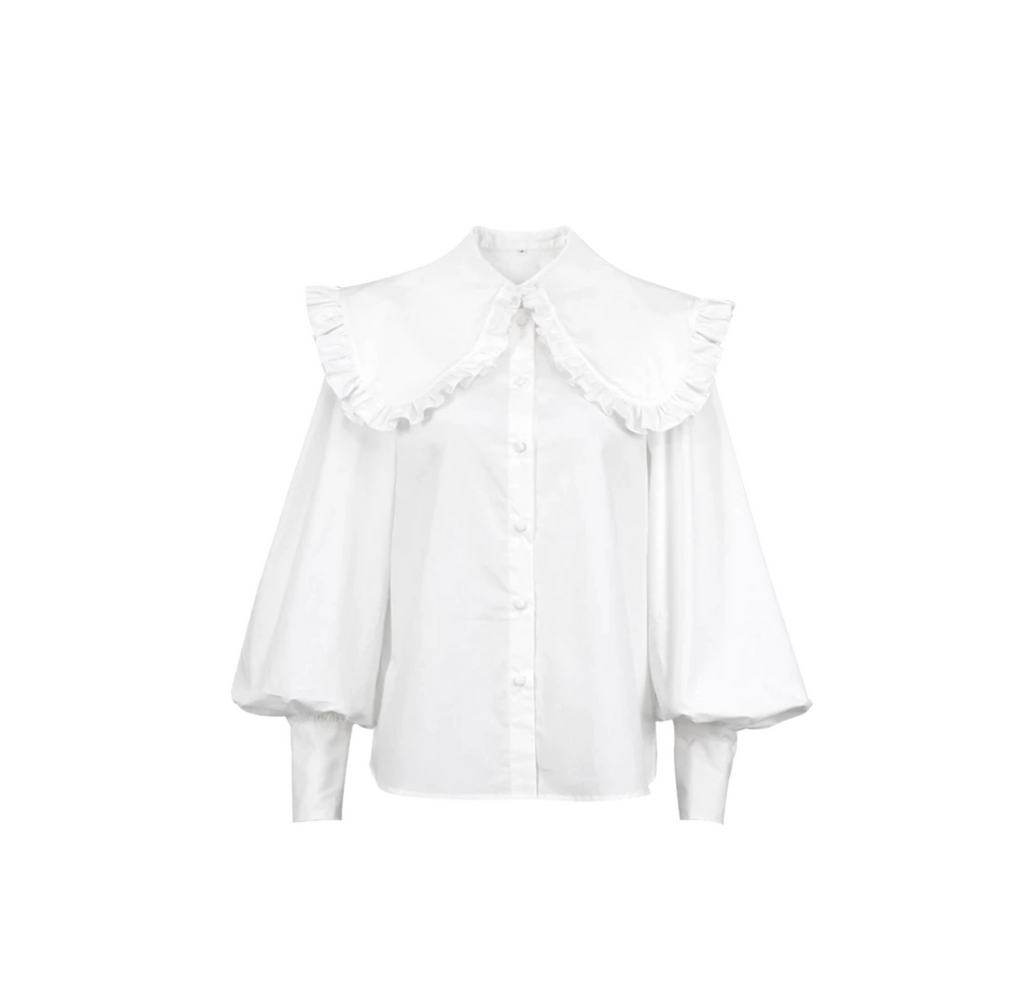 Rebecca White Blouse with Ruffle Collar
