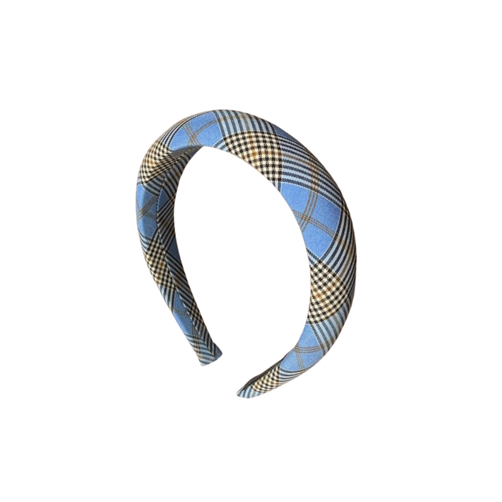 Lela Blue Plaid Headband
