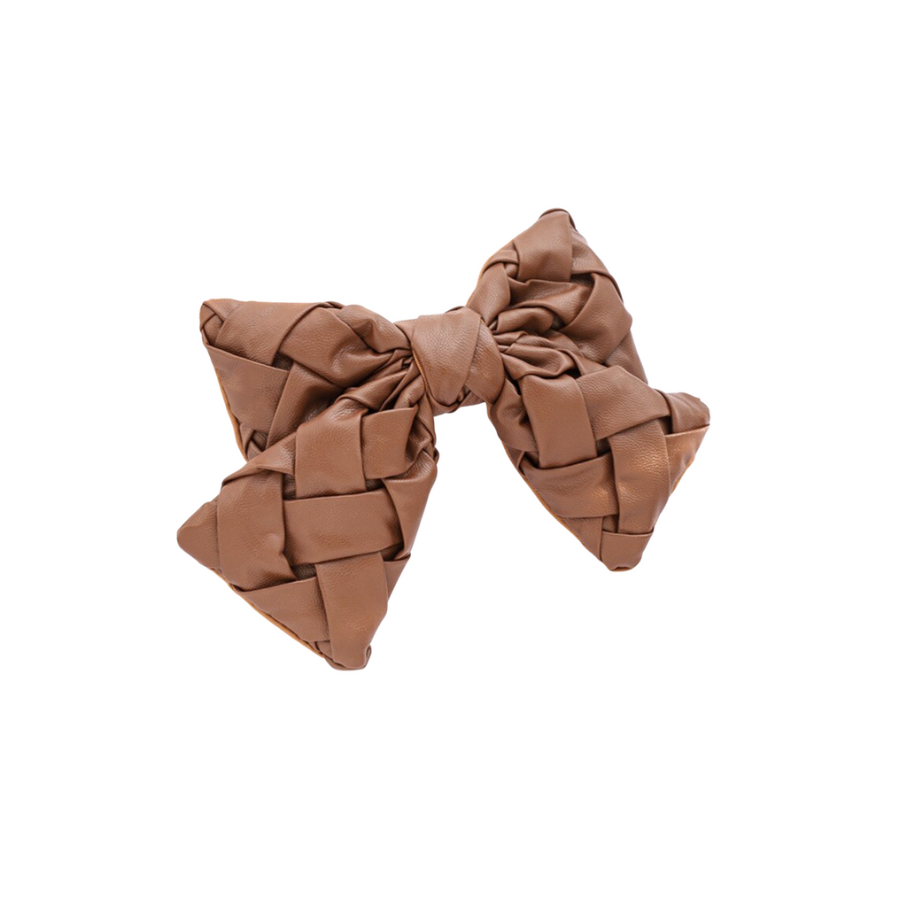 brown leather bow barrette