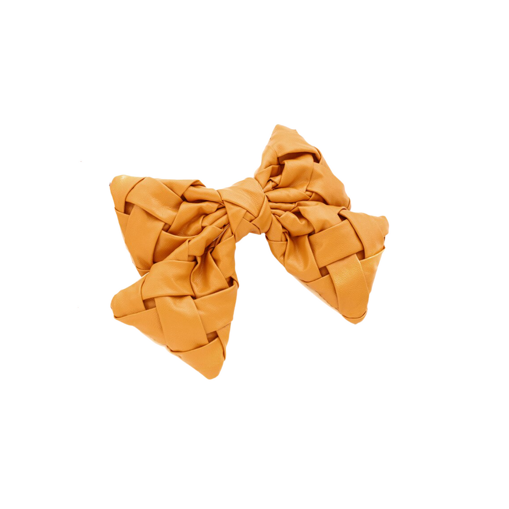 Genny Yellow Braided Bow Barrette