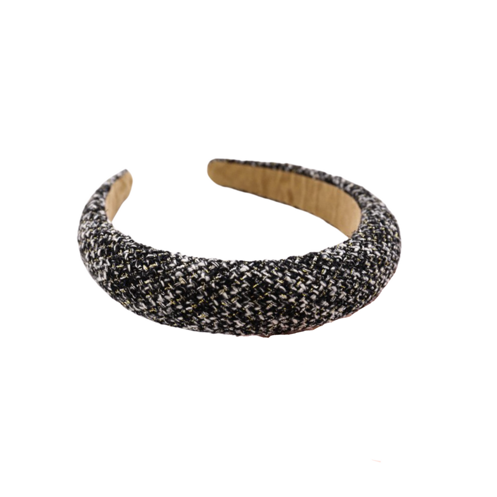 Camélia Black Tweed Headband