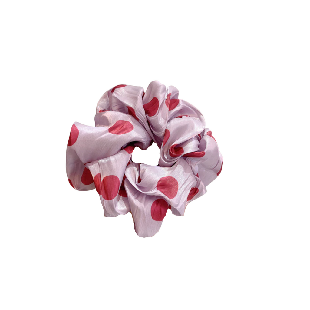 Pink Polka Dot Scrunchie
