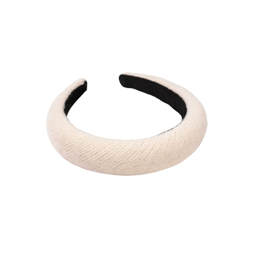 Georgina White Wool Padded Headband