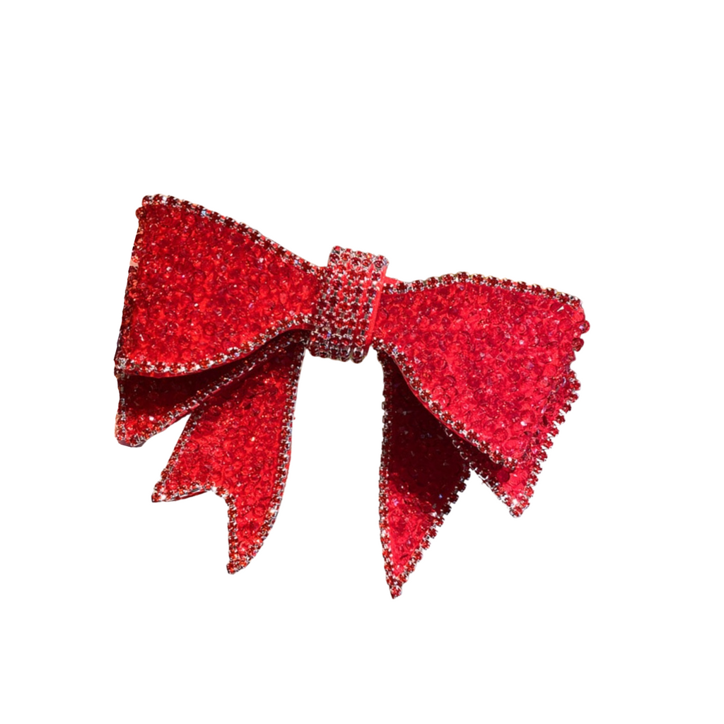 Paisley Red Embellished Bow Barrette