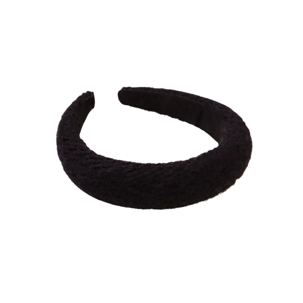 Georgina Black Wool Padded Headband