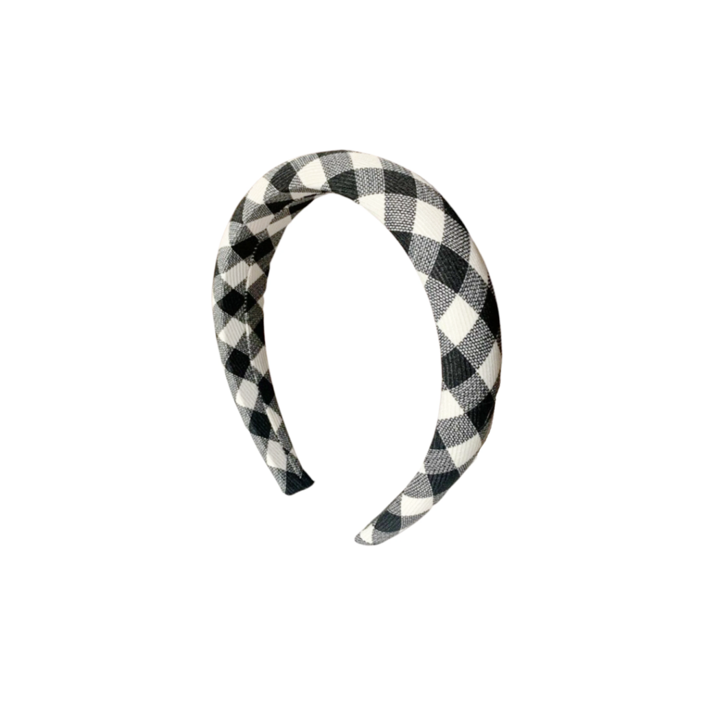 Harper Black and White Plaid Headband