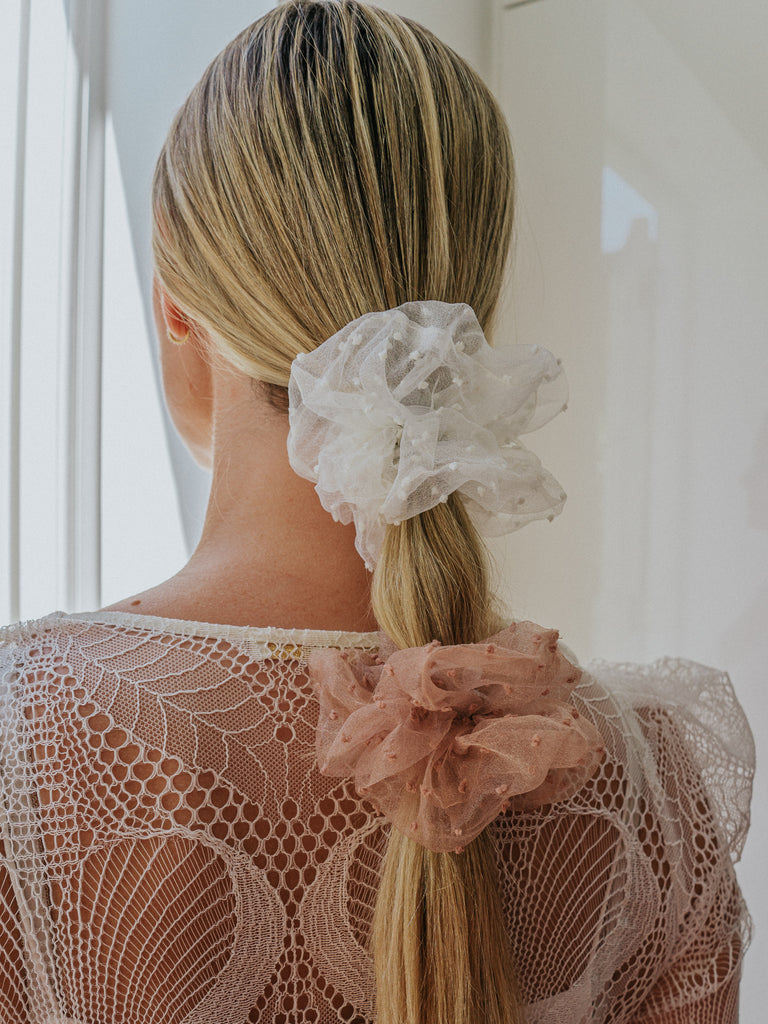 Brown Dotted Tulle Scrunchie