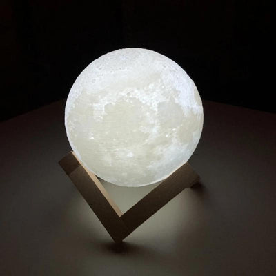 Rechargeable 3D Moon Lamp - Night Light - Moon Can Change 2 Colors