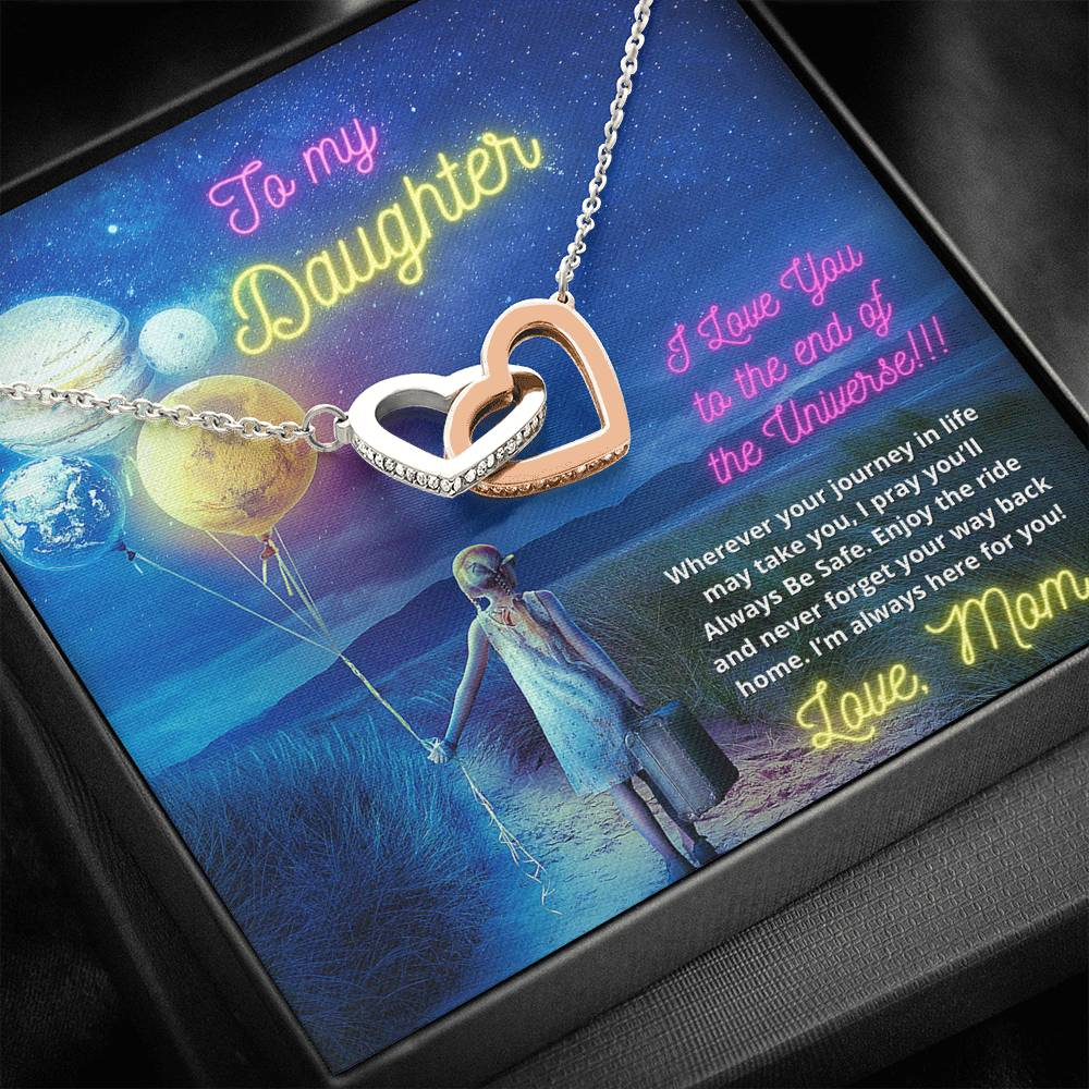 To My Daughter From Mom - Two Interlocking Heart Necklace with Cubic Zirconia Stones