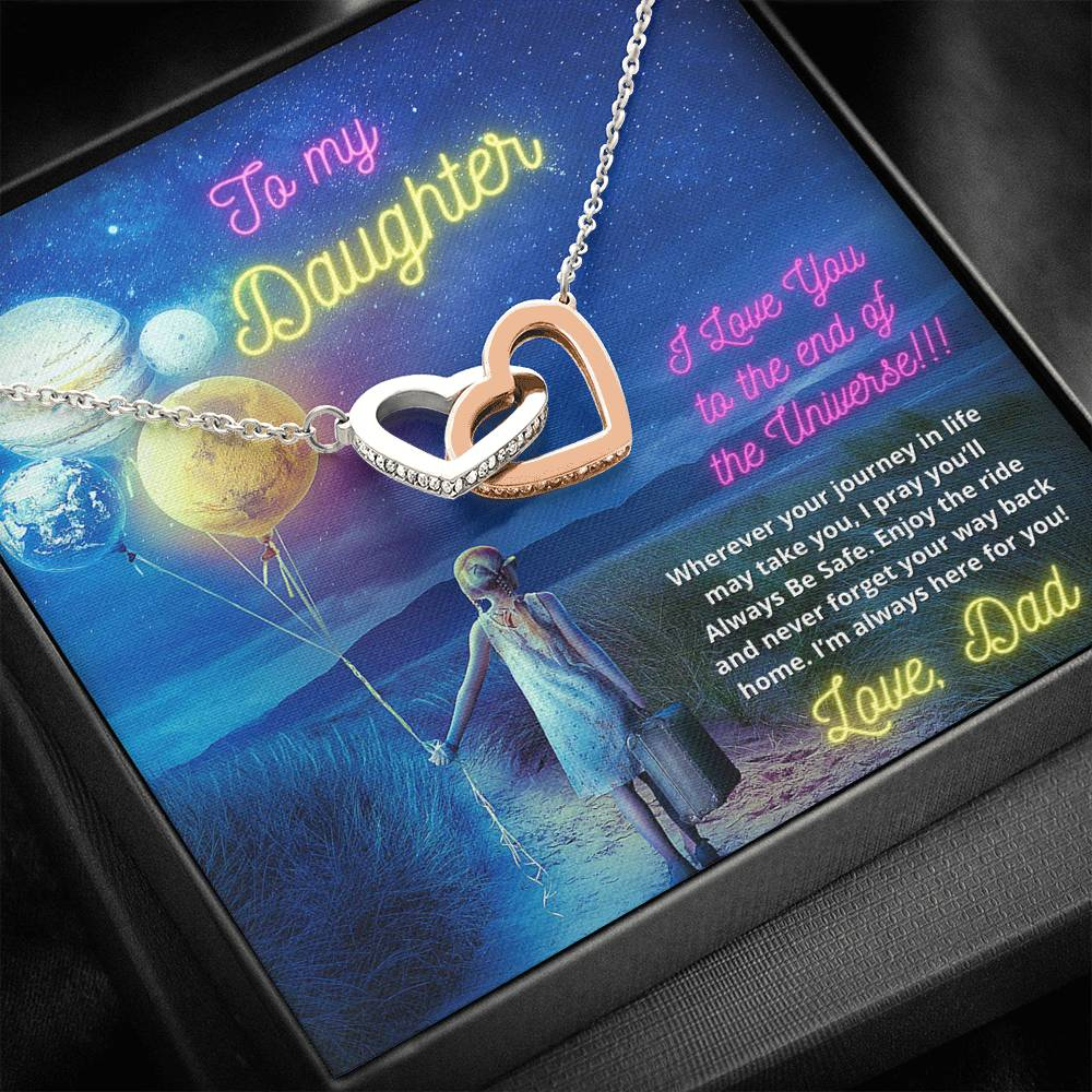 To My Daughter - Love Dad - Two Interlocking Heart Necklace with Cubic Zirconia Stones
