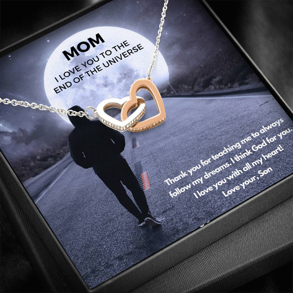 To Mom from your Son - I Love You to the end of the Universe - Two Heart Necklace