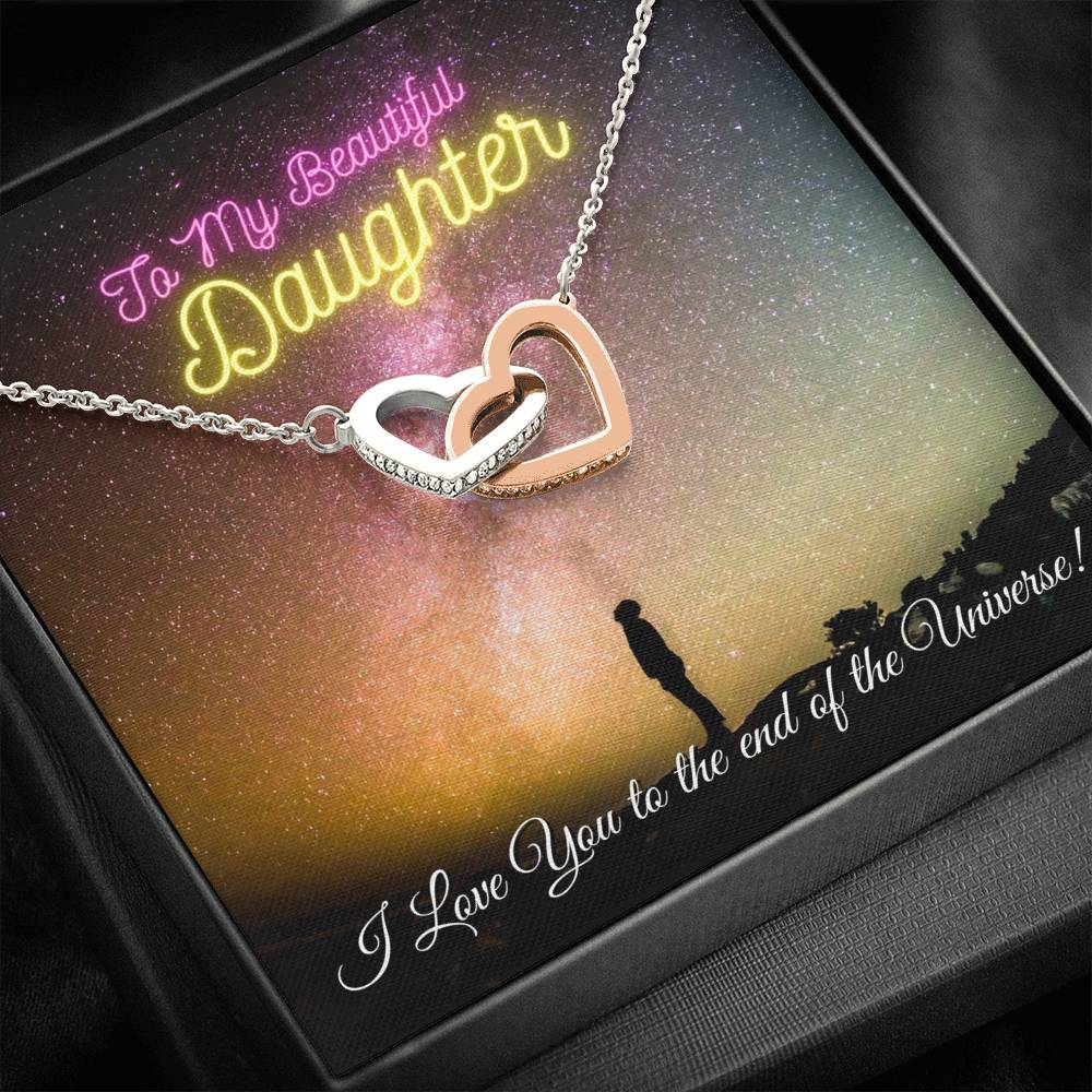 To My Daughter, From Dad - I Love You to the end of the Universe - Two Heart Necklace
