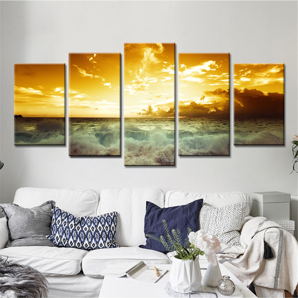 Sunset Wall Art Oil Painting Modular Canvas Pictures for Living Room ...