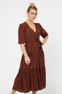 Betty Dress- Rust Leopard Print - Mimi Lil & Co
