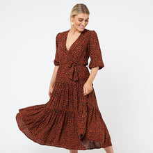 Load image into Gallery viewer, Betty Dress- Rust Leopard Print - Mimi Lil & Co