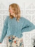 Merridy Cable Knit Jumper-Teal - Mimi Lil & Co