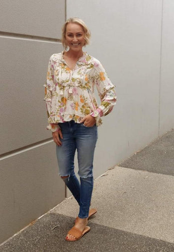 The Cassia Boho Floral Blouse - Mimi Lil & Co