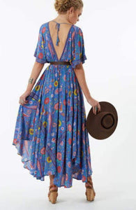 The 'Everly' Boho Love Bird Dress in Blue - Mimi Lil & Co