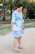 Veronika Dress- Blue Floral - Mimi Lil & Co