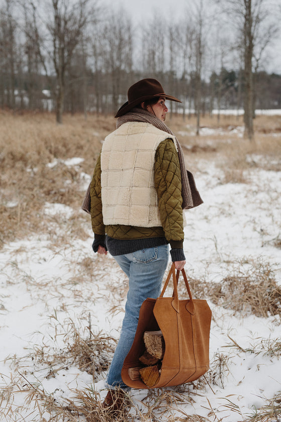 Suede Log Carrier