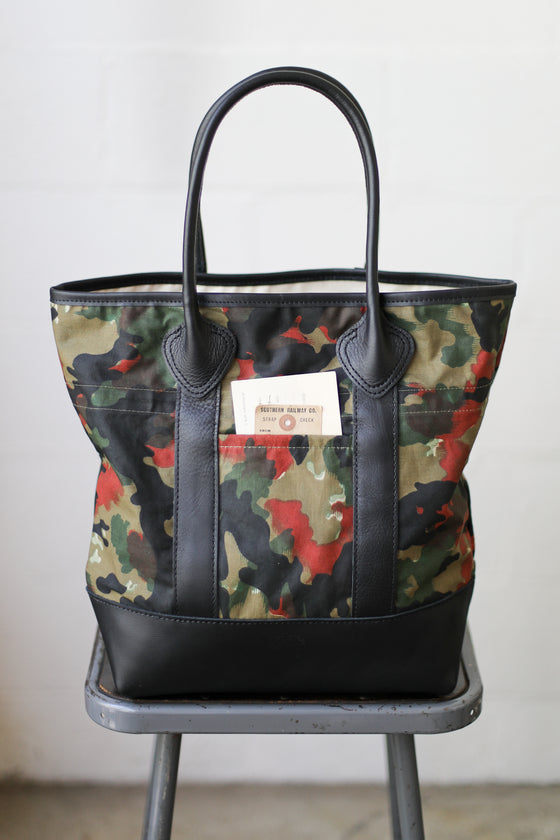 1950's era Salvaged Swiss Camo Tote Bag