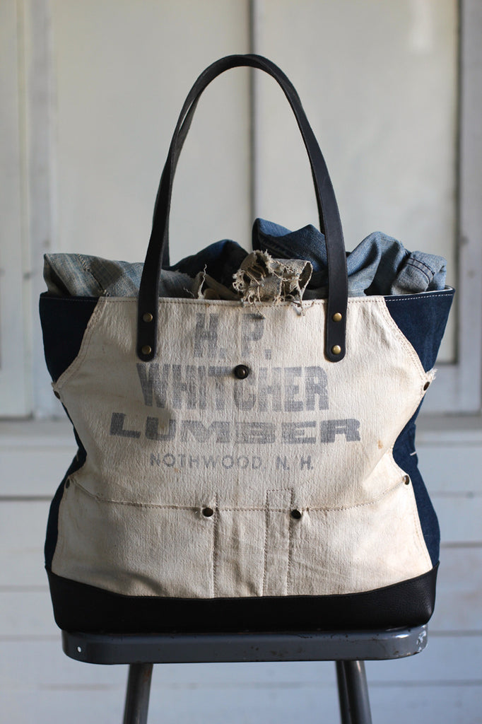 WWII era Denim and Work Apron Carryall