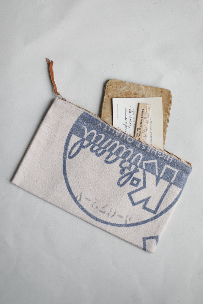 1950's era Salvaged Feedsack Utility Pouch