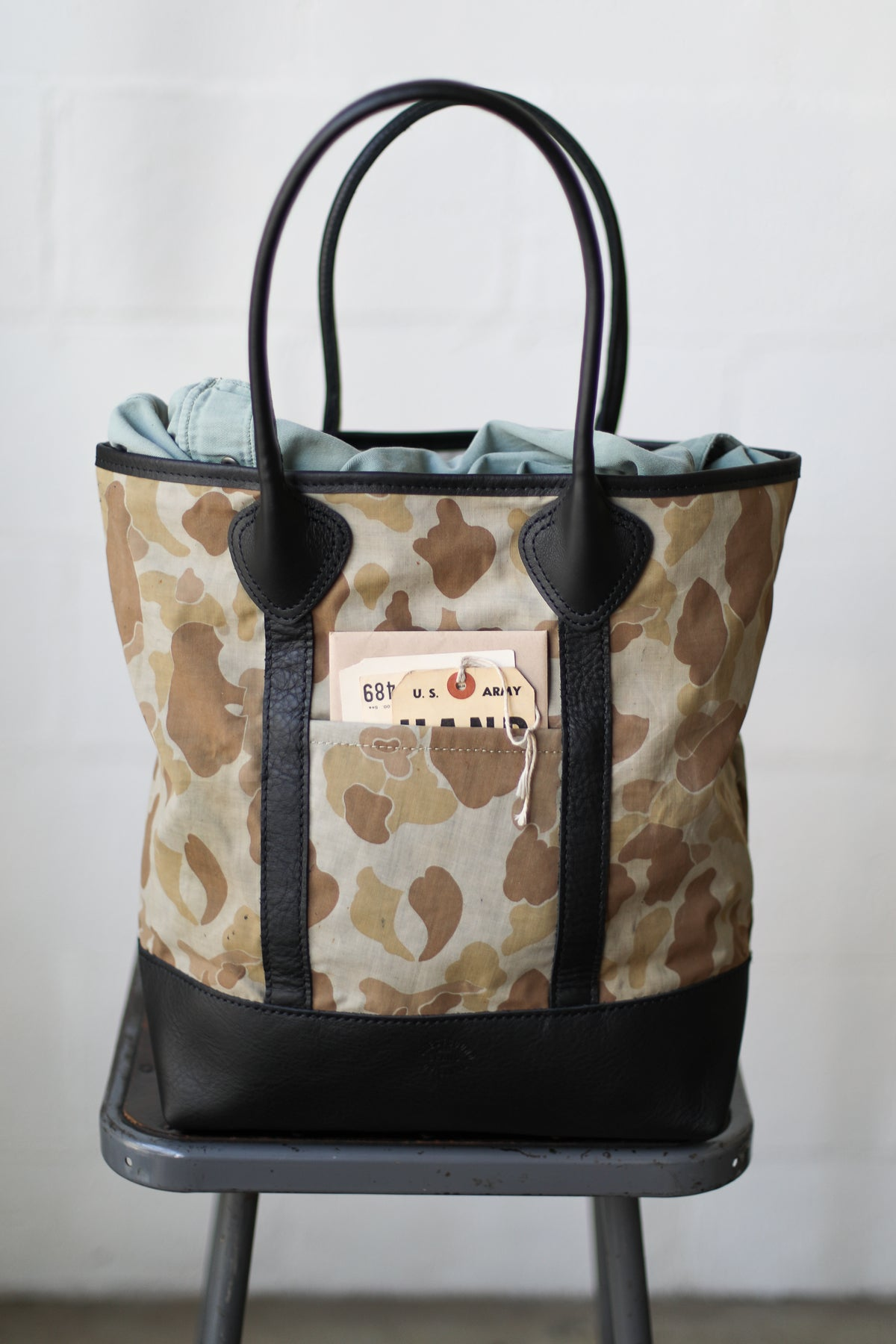 WWII era Salvaged Camo Tote Bag