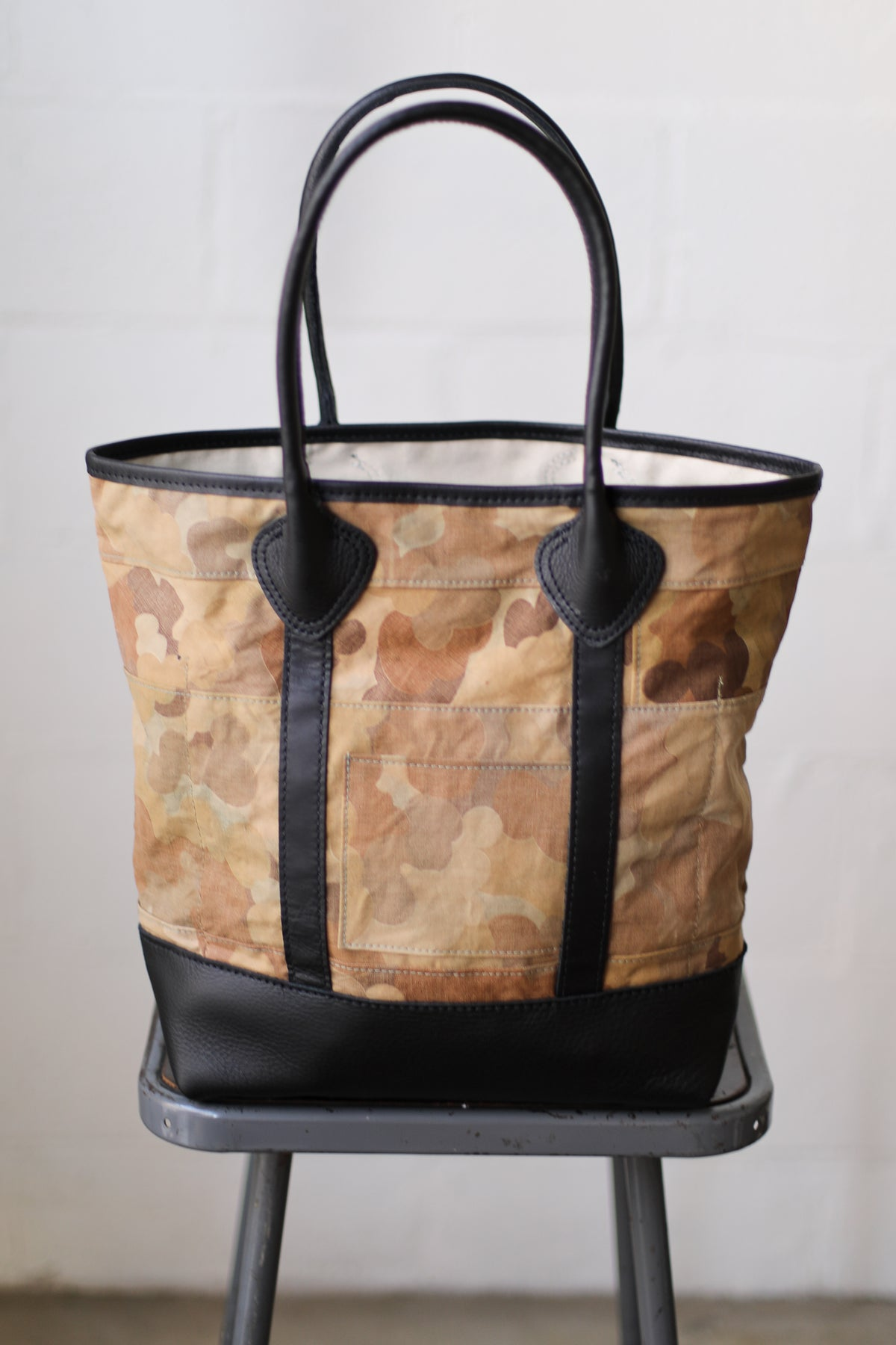1940's era Salvaged Cloud Camo Tote Bag