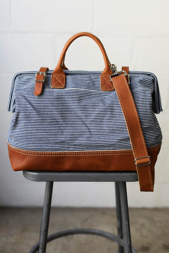 1950's era Salvaged Ticking Carryall