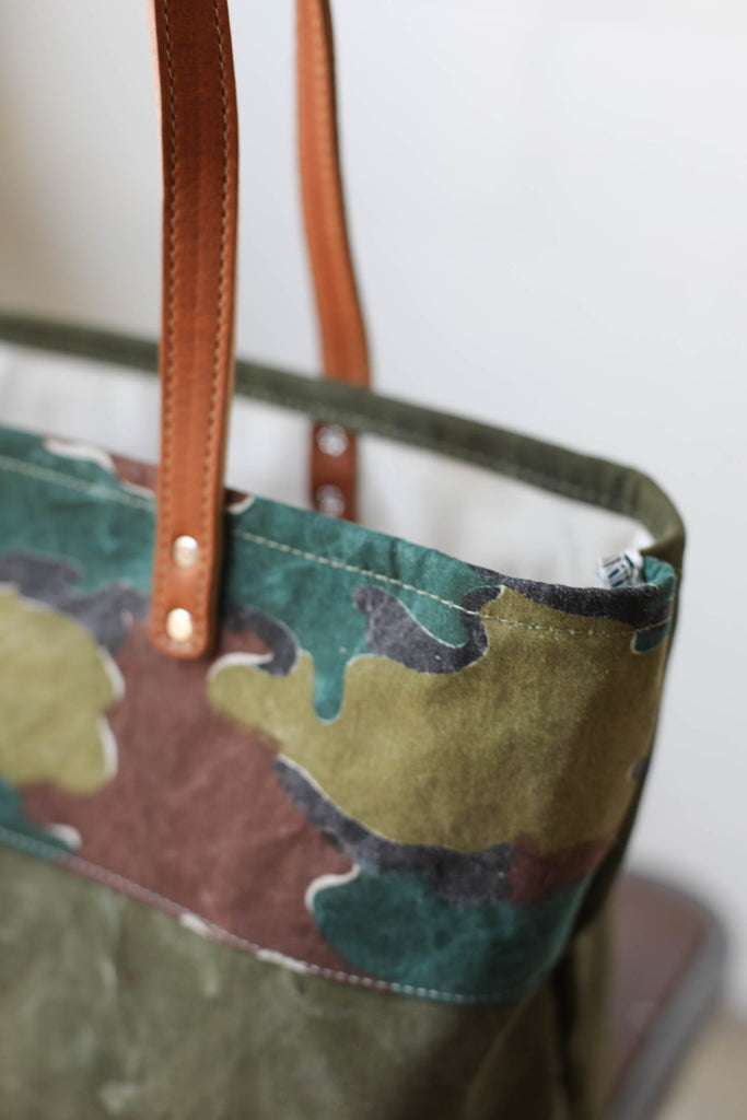 WWII era Salvaged Canvas & Camo Everyday Tote