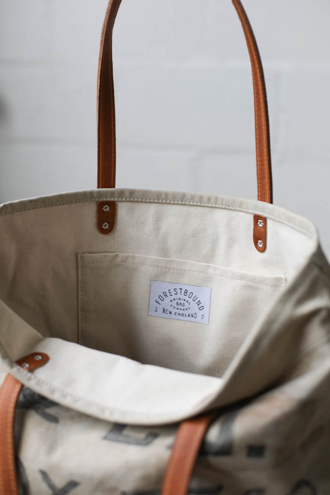 1940's era Salvaged Canvas Everyday Tote Bag
