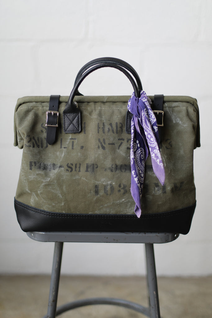 WWII era Salvaged Military Canvas Carryall