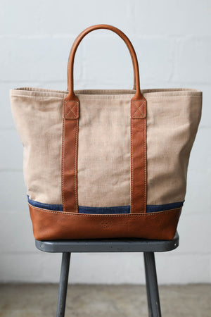 1940's era Salvaged Canvas & Denim Tote Bag