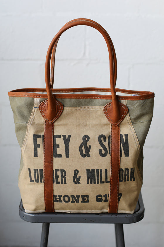 1940's era Salvaged Canvas and Work Apron Tote Bag