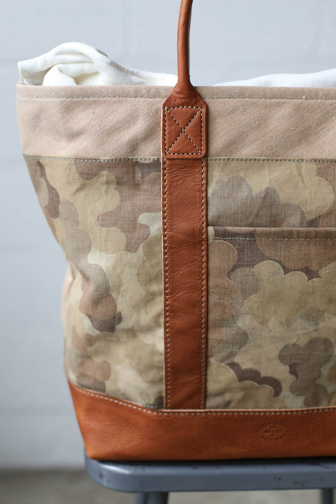 1950's era Salvaged Canvas & Camo Tote Bag