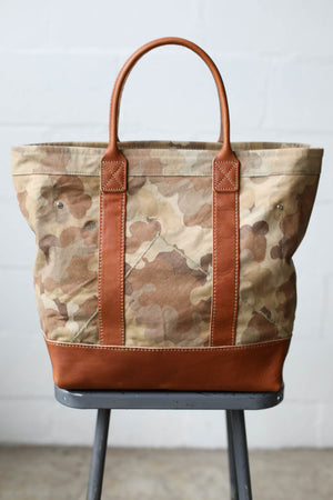 WWII era Salvaged Canvas and Camo Tote Bag
