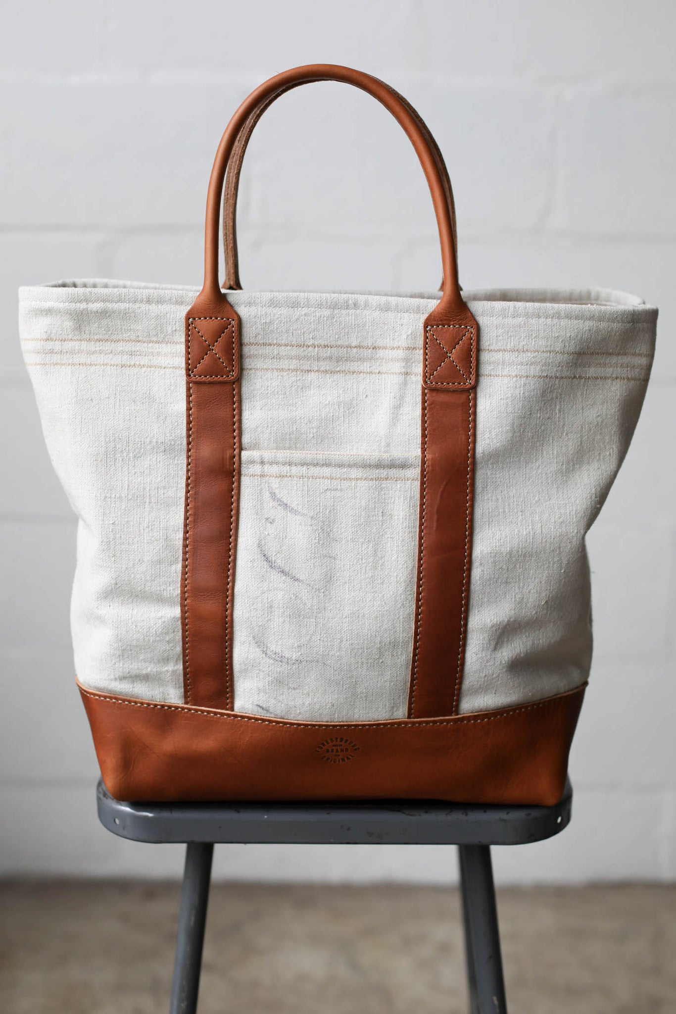 1940's era Salvaged Feed Sack Tote Bag