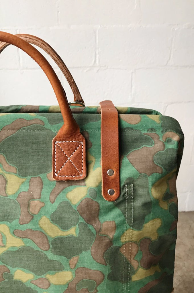 WWII era Salvaged Camo Carryall