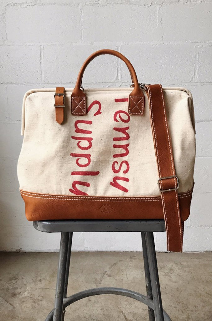 1950's era Salvaged Canvas Carryall