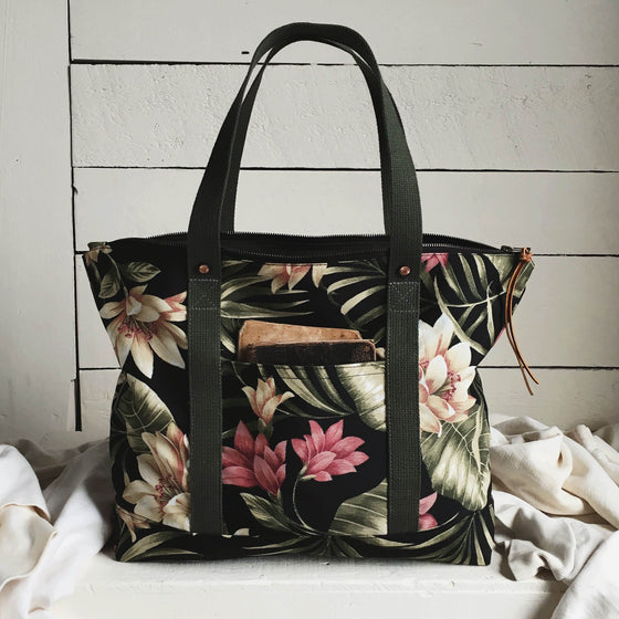 Forestbound Travel Tote - Dark Floral Sample