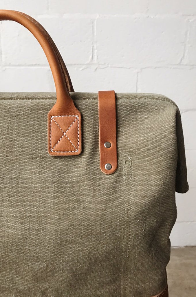 WWII era Salvaged Canvas & Work Apron Carryall
